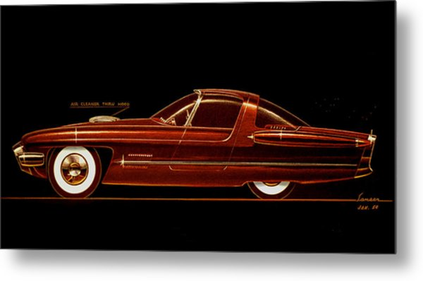1954 Ford Cougar  Experimental  Car Concept Styling Design Concept Sketch Metal Print by John Samsen