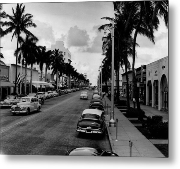 1954 Miami Beach Lincoln Road Metal Print by Retro Images Archive