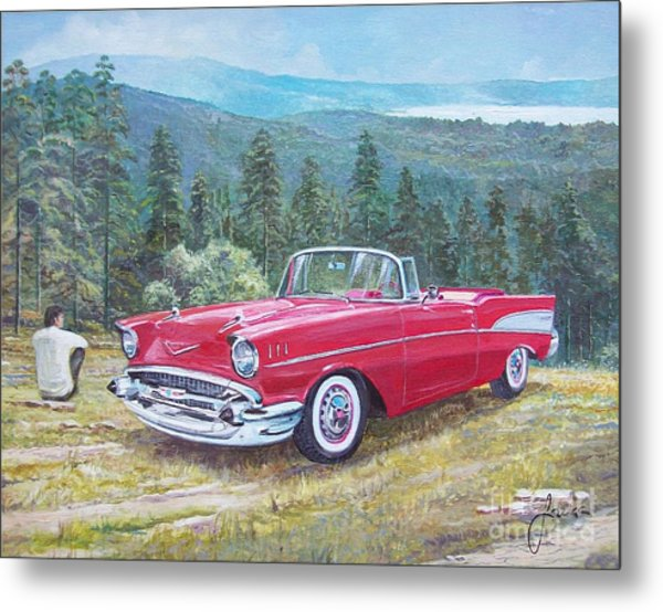 1955-1957 Chevrolet Bel Air Cabriolet Metal Print