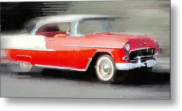 1955 Chevrolet Bel Air Coupe Watercolor Metal Print