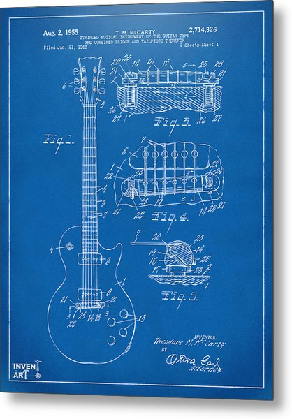 Metal Print featuring the digital art 1955 Mccarty Gibson Les Paul Guitar Patent Artwork Blueprint by Nikki Marie Smith