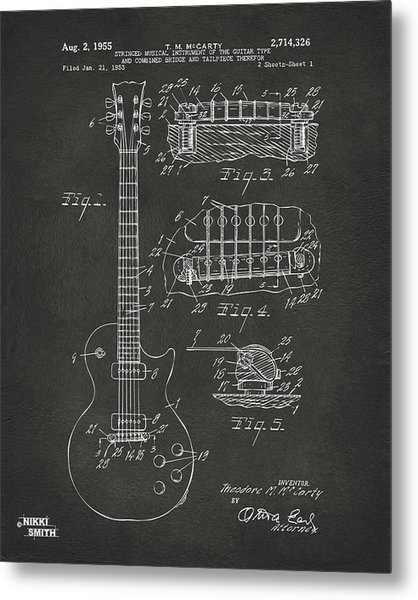 Metal Print featuring the digital art 1955 Mccarty Gibson Les Paul Guitar Patent Artwork - Gray by Nikki Marie Smith