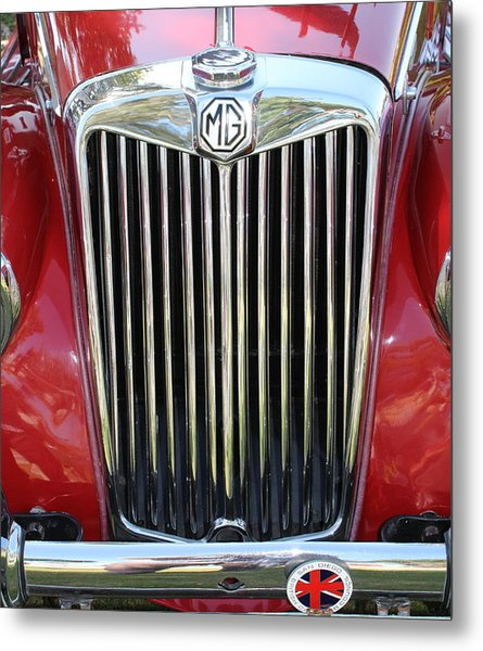 1955 Red Mg Grille Metal Print by Mark Steven Burhart
