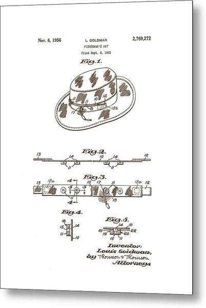 1956 Fisherman's Hat Patent Metal Print