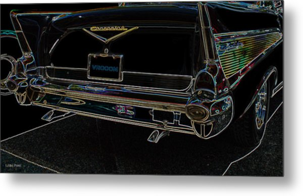 1957 Chevrolet Rear View Art Black_varooom Tag Metal Print