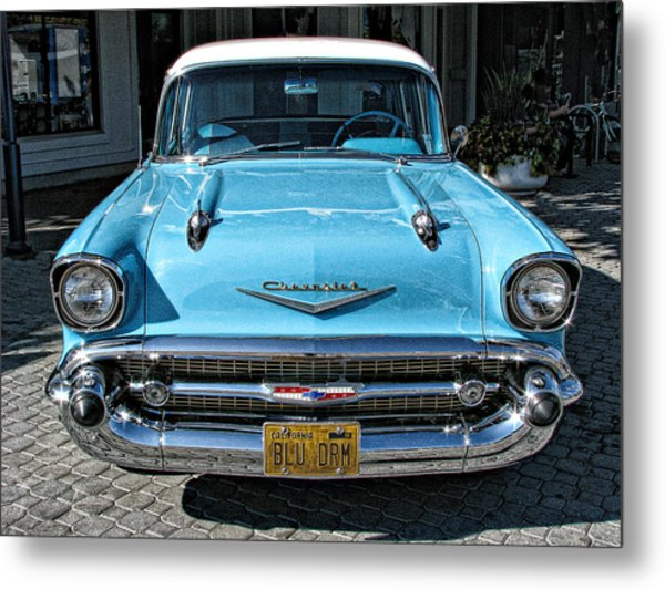1957 Chevy Bel Air In Turquoise Metal Print