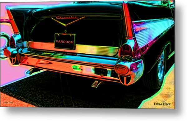 1957 Chevy Art Red Varooom Metal Print