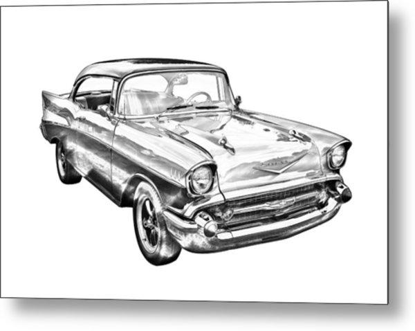 1957 Chevy Bel Air Illustration Metal Print