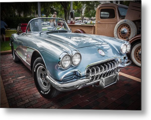 1958 Chevy Corvette Painted Metal Print