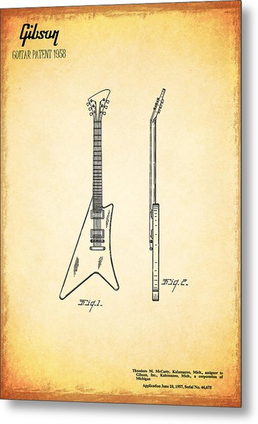 1958 Gibson Guitar Patent Metal Print