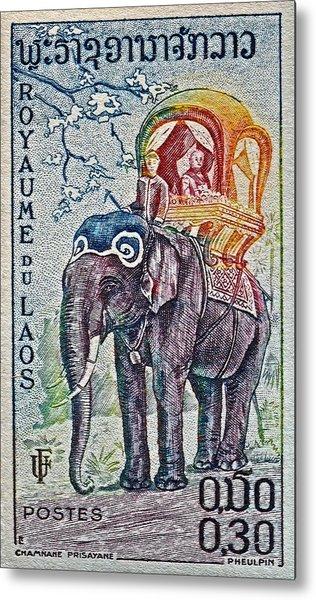1958 Laos Elephant Stamp Metal Print
