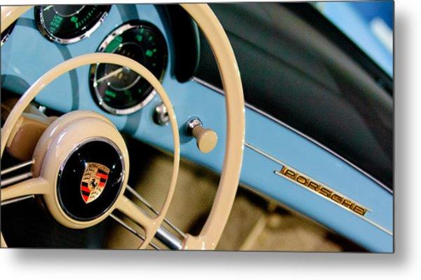 1958 Porsche 356 A Speedster Steering Wheel Emblem Metal Print by Jill Reger