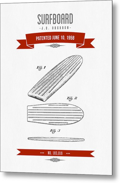 1958 Surfboard Patent Drawing - Retro Red Metal Print
