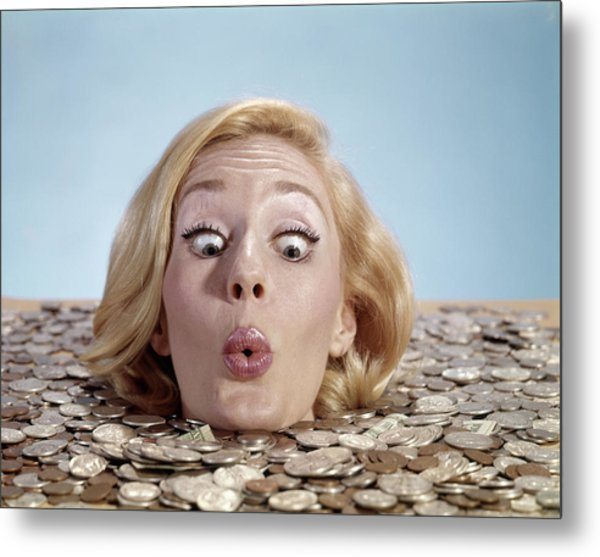 1960s Blond Woman Funny Facial Metal Print
