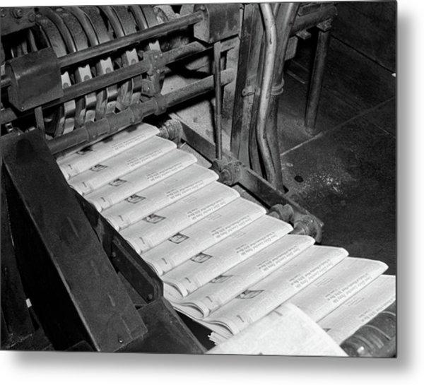 1960s Close-up Of Printing Press Metal Print