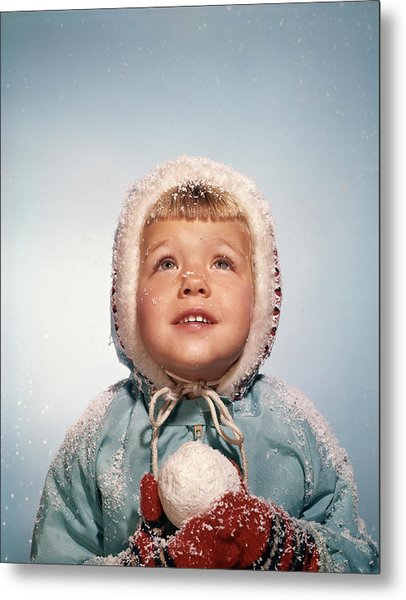 1960s Little Girl Holding Snow Ball Metal Print