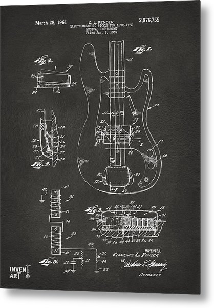 Metal Print featuring the digital art 1961 Fender Guitar Patent Artwork - Gray by Nikki Marie Smith
