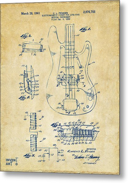 Metal Print featuring the digital art 1961 Fender Guitar Patent Artwork - Vintage by Nikki Marie Smith