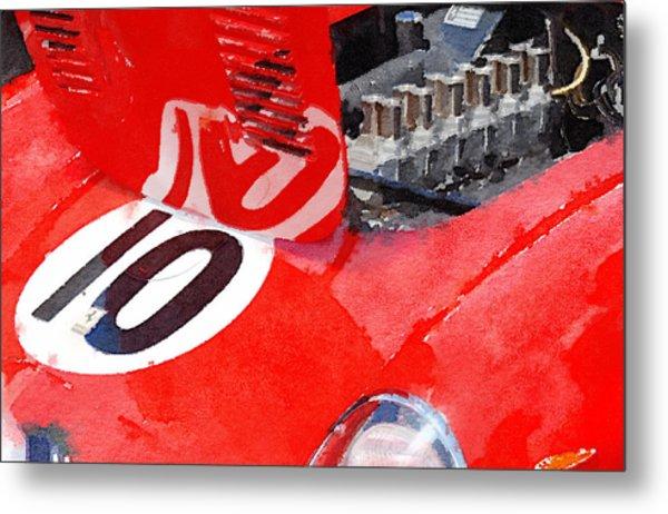 1962 Ferrari 250 Gto Engine Watercolor Metal Print
