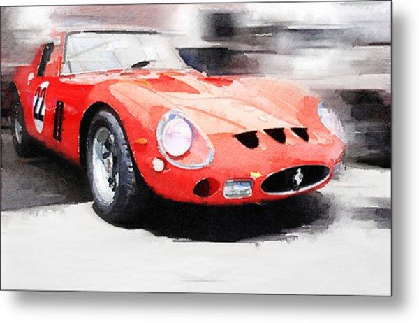 1962 Ferrari 250 Gto Watercolor Metal Print