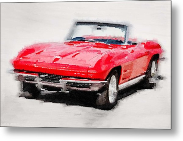 1964 Corvette Stingray Watercolor Metal Print