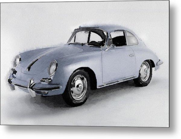 1964 Porsche 356b Watercolor Metal Print