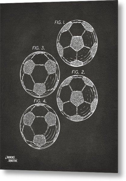 1964 Soccerball Patent Artwork - Gray Metal Print