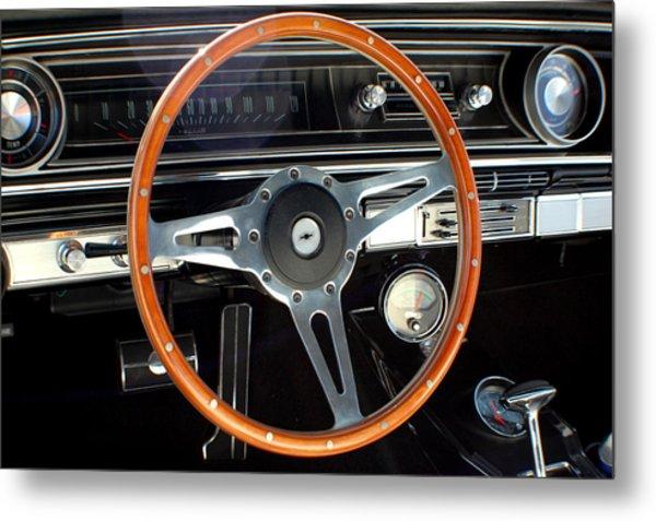 1965 Chevrolet Impala Ss Steering Wheel Metal Print by DJ Monteleone