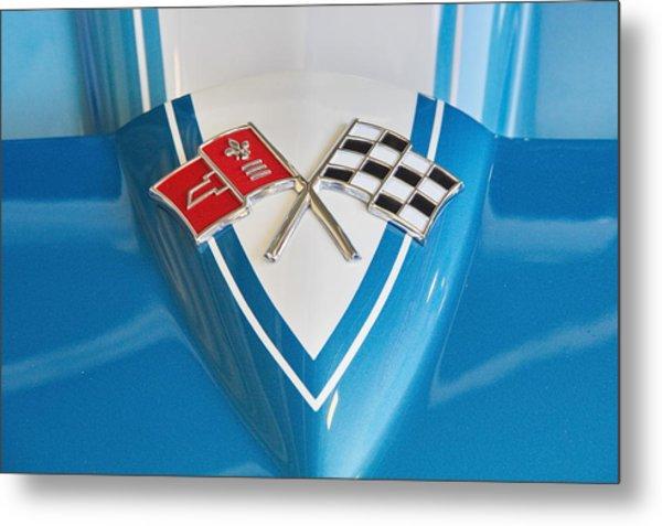 1965 Corvette Flags Emblem Metal Print