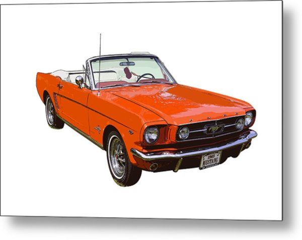 1965 Red Convertible Ford Mustang - Classic Car Metal Print
