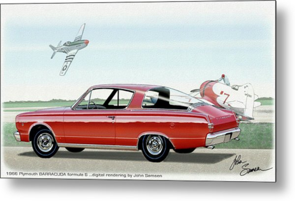 1966 Barracuda  Classic Plymouth Muscle Car Sketch Rendering Metal Print