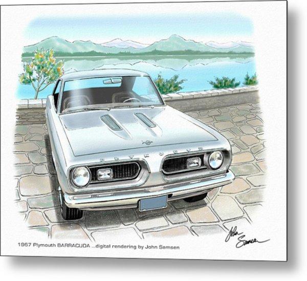 1967 Barracuda  Classic Plymouth Muscle Car Sketch Rendering Metal Print