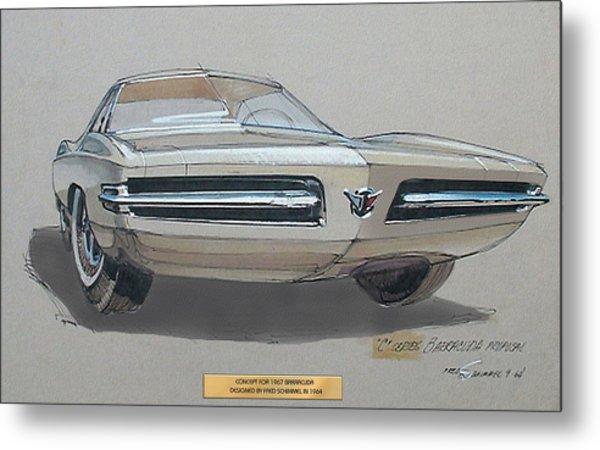 1967 Barracuda  Plymouth Vintage Styling Design Concept Rendering Sketch Fred Schimmel Metal Print by ArtFindsUSA