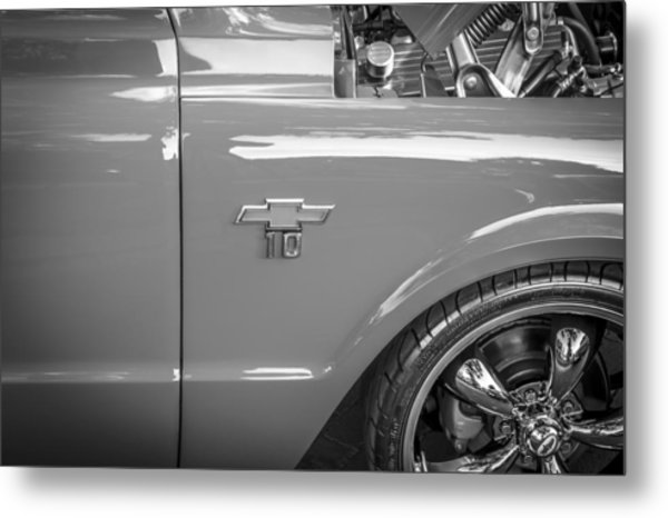 1967 Chevy Silverado Pick Up Truck  Bw Metal Print