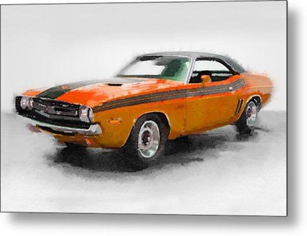 1968 Dodge Challenger Watercolor Metal Print