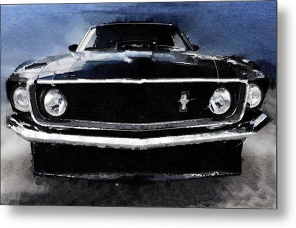 1968 Ford Mustang Shelby Front Watercolor Metal Print