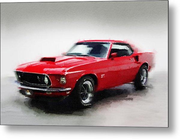 1969 Ford Mustang Watercolor Metal Print