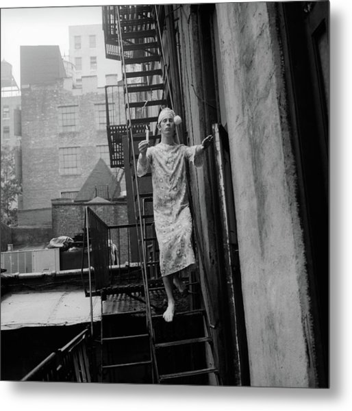 1970s Man In Nightgown And Cap Carrying Metal Print