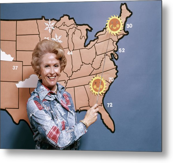 1970s Woman Reporting Weather Pointing Metal Print
