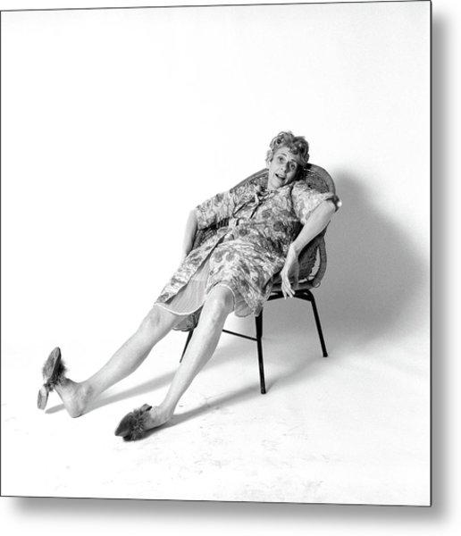 1970s Woman Slouched In Chair Metal Print