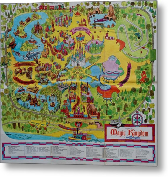 1971 Original Map Of The Magic Kingdom Metal Print