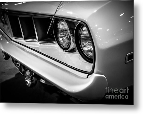 1971 Plymouth Cuda Black And White Picture Metal Print