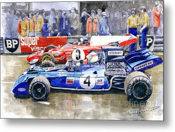 1972 French Gp Jackie Stewart Tyrrell 003  Jacky Ickx Ferrari 312b2  Metal Print