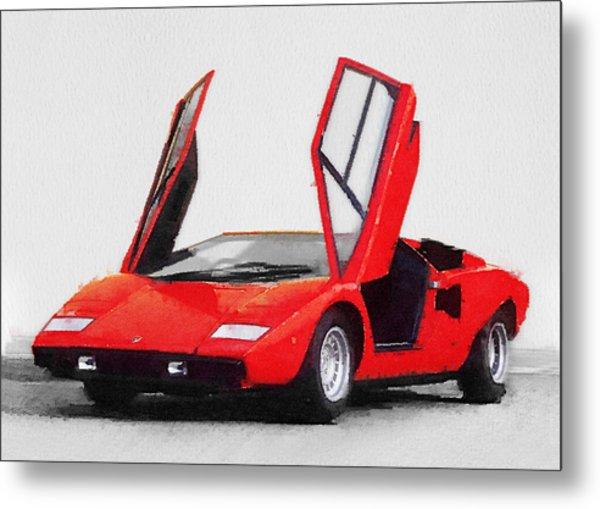 1974 Lamborghini Countach Open Doors Watercolor Metal Print