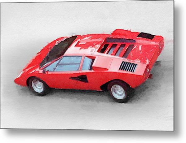 1974 Lamborghini Countach Watercolor Metal Print