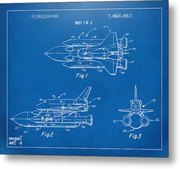 1975 Space Shuttle Patent - Blueprint Metal Print