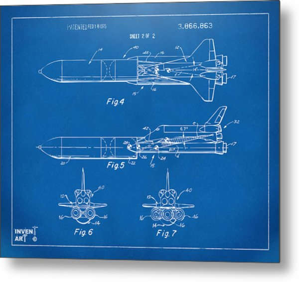1975 Space Vehicle Patent - Blueprint Metal Print