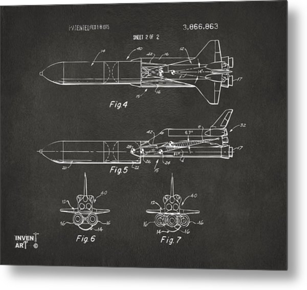1975 Space Vehicle Patent - Gray Metal Print