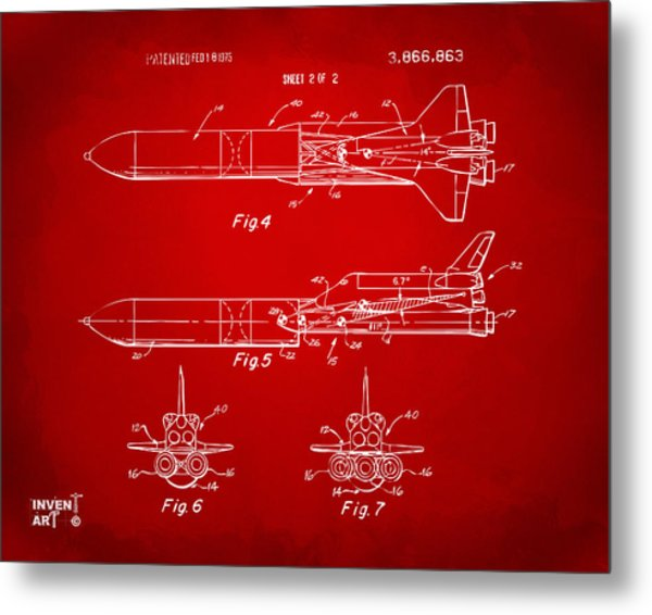1975 Space Vehicle Patent - Red Metal Print