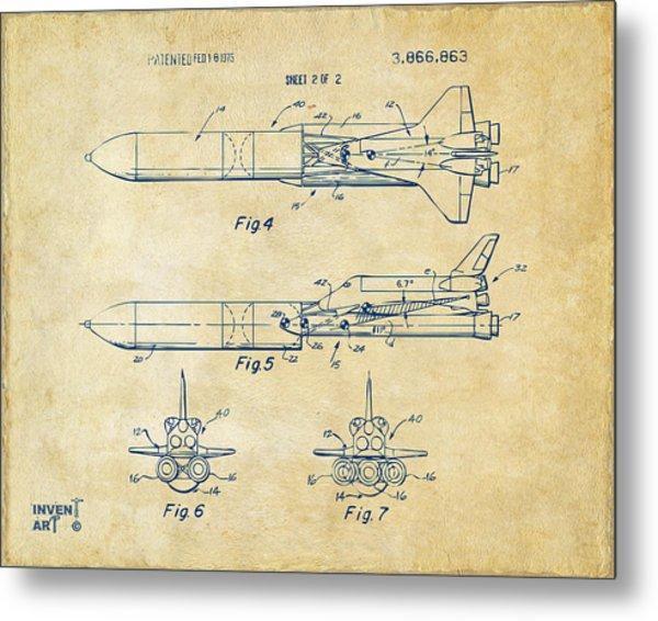 1975 Space Vehicle Patent - Vintage Metal Print